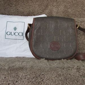 Gucci Flap Vintage Olive Canvas Cross Body Bag